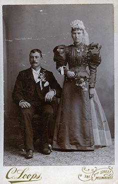 Gallery co-owner Frank Maresca says the images reflect 'two people about to jump into a void in a very workman-like fashion' Vintage Wedding Cards, Vintage Weddings, Victorian Bride, New York Galleries, Wedding Cake Toppers, Newlyweds, Groom, Statue, Gallery
