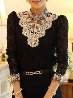 Charming Lace Slim Shirt