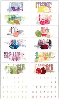2016 Watercolor-Inspired Fruit Calendar + radiantrumble.com