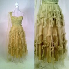Vintage 1950s Pistachio Green Tulle Strapless Dress by SLVintage, $135.00