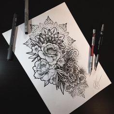 Image result for Mandala rose Flower sleeve