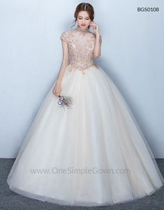 High Neck Champagne Embroidery Zipper Ball Gown