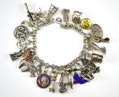 Vintage Sterling Silver Charm Bracelet with 23 Sterling Charms, 62g #charmbracelet
