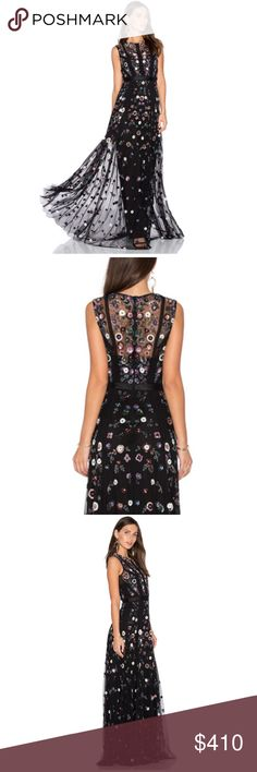 NWT Needle & Thread beaded gown prom wedding black Brand new with tags! This Needle & Thread floral ombre gown features a long sleeveless design with floral embellishments and lace trim. Sleeveless gown with lace rim insets, Three dimensional floral embellishments, Concealed back zip, Composition: 100% nylon tulle Made in India  This is even more incredibly gorgeous in person- perfect for weddings, prom, and any special occasion!  Please contact with questions Needle & Thread Dresses Maxi