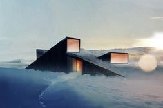 Mountain Hill Cabin Norwegian architects Fantastic Norway have designed a mountain lodge with a sloping roof that you can ski over. Architecture Cool, Cabinet D Architecture, Contemporary Architecture, Landscape Architecture, Casa Patio, Exterior, Roof Design, Around The Worlds, Places