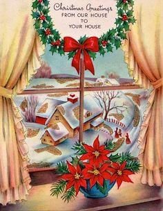 Christmas home and mistletoe wreath. Vintage Christmas Postcard