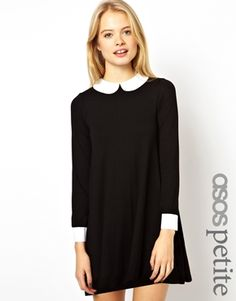 Image 1 of ASOS PETITE Exclusive Swing Dress with Collar and Cuffs