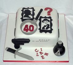 Murder mystery with Sherlock Holmes and Poirot birthday cake by Eva Rose Cakes
