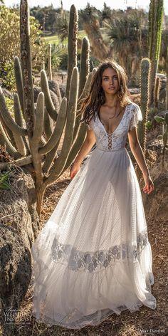 asaf dadush 2018 bridal short butterfly sleeves deep v neck heavily embellished bodice bohemian a line wedding dress low open back sweep train (7) mv -- Asaf Dadush 2018 Wedding Dresses #shortweddingdresses