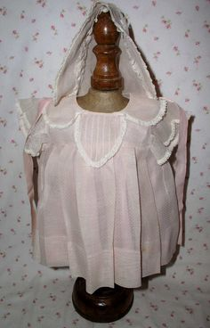 """TAGGED -1930's Effanbee 20"""" Dy-Dee Pink Organdy Dotted Swiss Dress & Bonnet - For Dy-Dee Lou/Louise Mold 1 and 2"""