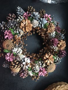 Pink pine cone wreath -use fall colors This unique pine cone wreath in shades of blue, gray, pink and white would make a lovely house-warming gift or brighten up your own home. Each pine cone is hand Herbstlicher Tannenzapfen-Kranz Source by rukiyeay Make Nature Crafts, Fall Crafts, Holiday Crafts, Christmas Wreaths, Christmas Crafts, Diy And Crafts, Arts And Crafts, Christmas Ornaments, Christmas Christmas