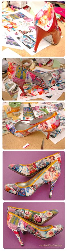 Recover old shoes with mod podge and pictures. I LOVE the one idea about using book pages! Except I would make photocopies of them and mod podge those on. I can't destroy a book.