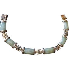 Chinese Vintage jade bracelet with sterling silver links from 2271668 on Ruby Lane