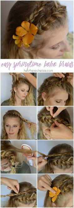 An easy springtime boho braid tutorial. This easy double braid looks beautiful with a few flowers added in; takes about 10 minutes to complete and is the prettiest spring time braid! Check out this tutorial and two more easy springtime hair tutorials to rock as the weather warms up [ad} #goodstyle // www.heytherechelsie.com