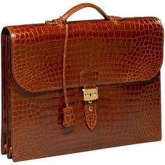 Hermès - 'Sac à Depeche' gentleman's briefcase in tan 'Crocodilus Porosos'