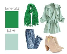 Jeans, mint trench coat, ankle boots, emerald green scarf