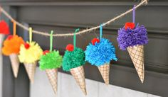 Make colorful ice cream cone garland out of paper and yarn! Top each cone with cherry pom poms. Great for birthday, summers or any time!