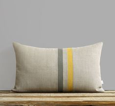 Striped Linen Pillow Cover - Squash and Stone Gray (12x20) Fall Home Decor by…