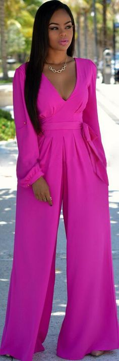 4da716ad2052 Rosy V-neck Long Sleeve Wide Leg Long Jumpsuit With Belt