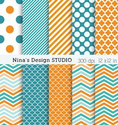 $2.50 Sale/60 % 0ff/INSTANT DOWNLOAD/ 10 Orange blue Digital paper pack  for Personal and Commercial use/ Scrapbooking