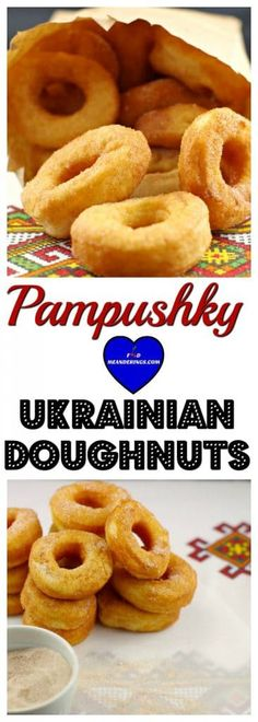 This Ukrainian recipe for Pampushky (Ukrainian Doughnut) recipe is a light and airy raised doughnut without filling. These traditional Ukrainian donuts are made into modern mini (Stampede-style) doughnuts and sprinkled with cinnamon and sugar just the way Ukrainian Desserts, Ukrainian Recipes, Russian Recipes, Ukrainian Food, Russian Foods, Croatian Recipes, Hungarian Recipes, Donut Recipes, Cake Recipes