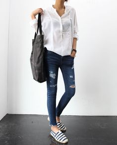 Blousey white shirt + ripped skinny jeans + striped espadrilles