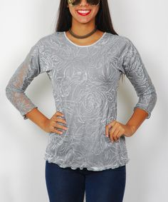 Look at this #zulilyfind! Charcoal Floral Sheer-Sleeve Top by Miss Lily #zulilyfinds