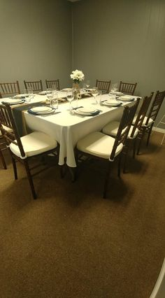 """2 banquet tables together with a round table cloth gives a nice """"family style"""" feel Banquet Tables, Conference Room, Dining Table, Nice, Furniture, Home Decor, Style, Swag, Stylus"""