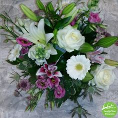 Pink & White Flower Bouquet Cream Flowers, White Flowers, Hand Tied Bouquet, Flowers Delivered, Pink White, Bouquets, Floral Wreath, Lily, Rose