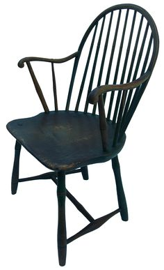 Late 18th Century Nine Spindle Window Bow Back Arm Chair, Original Windsor  Green Paint,