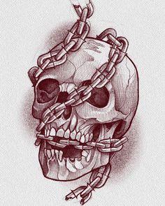 Dark Art Drawings, Pencil Art Drawings, Art Drawings Sketches, Tattoo Sketches, Tattoo Design Drawings, Skull Tattoo Design, Skull Tattoos, Illustration Tattoo, Art Du Croquis