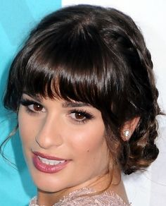updo with bangs and I love her makeup