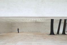 """"""" ... Schön wohnt er. Es brennet der Säulen Laub, Und reget sich. Wild stehn Sie aufgerichtet, untereinander; darob Ein zweites Maß, springt vor Von Felsen das Dach. ... """" Der Ister, Friedrich Hölderin  The Nordic Pavilion (Giardini, Venice)."""
