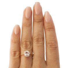 Beverly Hills Charms 10k Rose Gold Morganite and 1/10ct Diamond 'Lady D' Halo Ring (H-I, I2-3) - Overstock™ Shopping - Top Rated Beverly Hills Charm Gemstone Rings