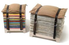 a fun diy idea! magazine storage stool, make with belts? Recycled Magazines, Old Magazines, Recycled Books, Recycled Jewelry, Diy Furniture, Furniture Design, Recycled Furniture, Chair Design, Modern Furniture