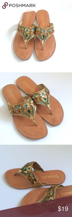 Cute Bedazzled Sandals A pair of in great condition sandals. Super cute and bedazzled! Size 6 Coconuts Shoes Sandals