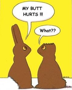 Funny Easter Comic: Part Eaten Chocolate Easter Bunnies
