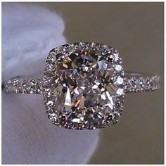 3CTTW 2CT Center NSCD SIMULATED DIAMOND Cushion Cut Wedding Engagement Ring set in 14k white gold.  $529.99!  CLICK THE IMAGE!  OUR NSCD DIAMOND COLLECTION IS ALSO AVAILABLE IN STERLING SILVER!!!  SO AFFORDABLE!  Available in sterling silver for only $145.00.
