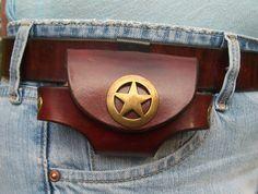zippo lighter carrying cases   ... Handmade Custom Leather Cell Phone Case - Sideways carry- Ranger Star