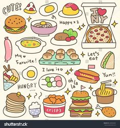 Set of Cute Meal and Dish Doodle Food Drawing Easy, Cute Food Drawings, Mini Drawings, Cute Kawaii Drawings, Easy Drawings, Food Doodles, Kawaii Doodles, Cute Doodles, Stickers Kawaii