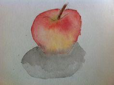 watercolor, apple, watercolor painting of apple
