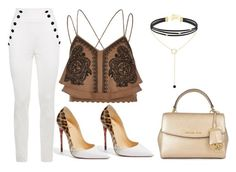 A fashion look from October 2016 featuring embroidered lace top, white high waisted trousers and white stiletto pumps. Browse and shop related looks. Michael Kors Fashion, River Island, Tommy Hilfiger, Christian Louboutin, Fashion Outfits, Shoe Bag, Clothing, Polyvore, Stuff To Buy