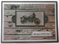 Male Birthday card made with Stampin' Up! Rev Up The Fun and Hardwood background stamp sets. Black embossing on Silver cardstock for a metallic male look!