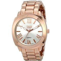 TKO ORLOGI Women's Big Silver  Face Rose Gold Boyfriend Oversized... ($26) ❤ liked on Polyvore featuring jewelry, watches, rose gold jewelry, water resistant watches, red gold jewelry, rose gold watches e oversized watches