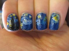 Vincent and the Doctor: Doctor Who/Starry Night nail art The Nail Newbie