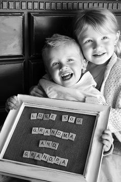 Adorable gift for Grandma and Grandpa! Could spell out using letter stickers, die-cuts, and more. Could spell out aunt's and uncle's too! Grandma And Grandpa, Grandpa Gifts, Mom And Dad, Grandmother Gifts, Scrabble Letras, Homemade Gifts, Diy Gifts, Diy Presents, 40th Wedding Anniversary