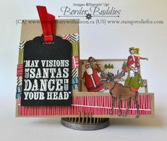 Learn how to make a side step card! What a fun way to use up all your scraps of leftover DSP, ribbons and cardstock. Product will ship anywhere in Canada or . Christmas Deer, Christmas Cards, Santa Stamp, Side Step Card, Dancing Santa, Diy And Crafts, Paper Crafts, Step Cards, Hand Stamped Cards