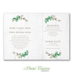 Rustic Farmhouse Invitation - Wood & cotton design is absolutely charming for a rustic wedding theme.  Shop this and many more unique & affordable wedding invitations at   www.PrintedCreationsWeddingStore.com.  #rusticweddinginvitations  #weddinginvitationsrustic #weddinginvitations  #invitationswedding #weddinginvites