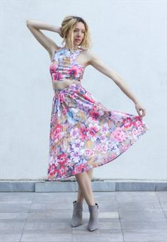 $34.22 // 60s Vintage Floral Pleated High Waist Skirt