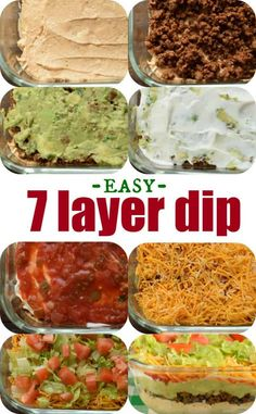 The Ultimate 7 Layer Dip recipeis packed with layers of Cream Cheese Sour Cream Ground Beef (and/or Beans) Guacamole Salsa Cheese and more! 7 Layer Bean Dip, Seven Layer Dip, 7 Layer Taco Dip, Easy Taco Dip, 7 Layer Mexican Dip, Mexican Dips, Appetizer Dips, Appetizer Recipes, Easy Dip Recipes